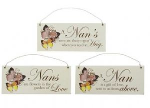 Wooden Hanging Plaque with 3 different loving quotes about Nan.